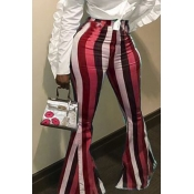 Lovely Euramerican Striped Wine Red Pants