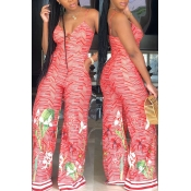 Lovely Fashion Printed Red Cotton Blends One-piece