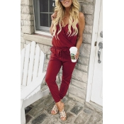 Lovely Casual V Neck Wine Red Cotton Blends One-pi