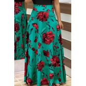 Lovely Fashion Floral Printed Green Ankle Length S