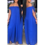 Lovely Euramerican Dew Shoulder Blue One-piece Jumpsuit(Without Belt)