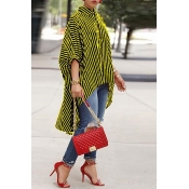 Lovely Casual Asymmetrical Striped Yellow Blouse