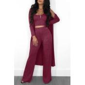 Precioso Conjunto De Pantalones De Dos Piezas De Vino Rojo Con Cuello En U, Con Abrigo