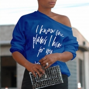 Lovely  Casual Long Sleeves Letter Printed Blue T-shirt