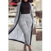 Lovely Casual Grid Printed Grey Knitting Two-piece