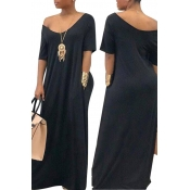 Lovely Casual Pockets Design Black Blending Floor