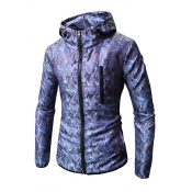 Lovely Casual Printed Zippered Blue Cotton Hoodies