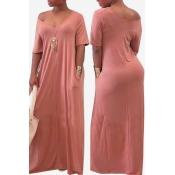 Lovely Casual Pockets Design Light Pink Blending Floor Length Dress