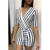 Lovely Casual Striped White Twilled Satin One-piece Rompers