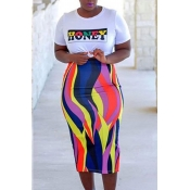Lovely Euramerican Letters Printed Multicolor Two-piece Skirt Set