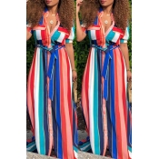 Lovely  Bohemian Striped Pink Blending Floor Length Dress