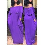 Lovely  Casual Dew Shoulder Loose Purple Floor Length Dress