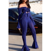 Lovely Sexy  Flared Legs Blue Two-piece Pants Set