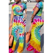 Lovely Casual Color Block Printed Multicolor Two-piece Pants Set