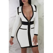 Lovely Sexy Patchwork Slim White  Mini  Dress