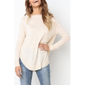 Lovely Casual Asymmetrical Apricot Knitting Sweate