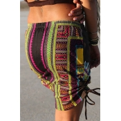 Lovely Ethnic Printed Beach Brown Mini Skirts
