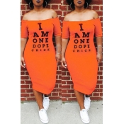 Lovely Euramerican Letters Printed Orange Twilled Satin Mid Calf Dress