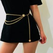 Lovely Euramerican Layered Gold Metal Body Chain