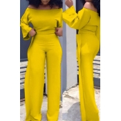 Lovely Casual Dew Shoulder Flounce Yellow Twilled Satin Two-piece Pants Set