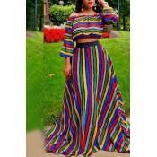 Lovely Casual Striped Show Hilum  Multicolor Two-piece Skirt Set