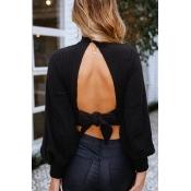 Lovely Trendy Hollowed-out Frenulum Short Black Co