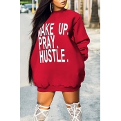 Lovely Casual Long Sleeves Letters Printed Red Mini Dress