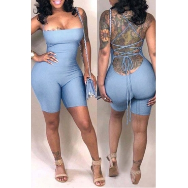 Lovely Casual Backless Skinny Baby Blue Blending One-piece Romper