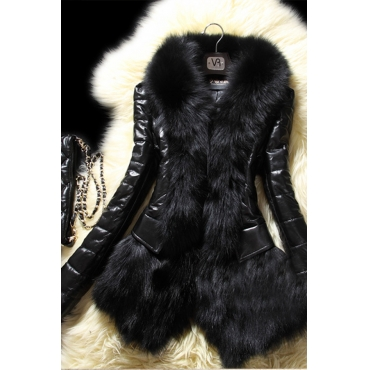 Lovely Fashion Patchwork Long Sleeves Black Faux Fur Coat