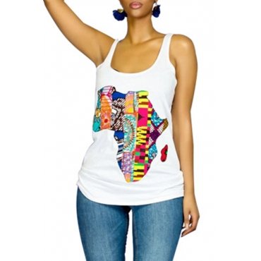Lovely Casual Sleeveless Printed White Cotton T-shirt