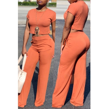 Lovely Casual Loose Orange  Qmilch Two-piece Pants Set
