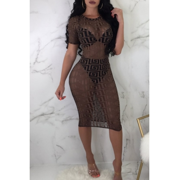 "Lovely ""Sexy See-through Printed Sheath Brown Knee Length Dress(Without Underclothes)"""