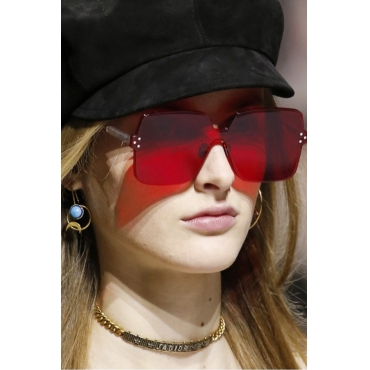 Lovely Fashion Rimless Red PC Sunglasses