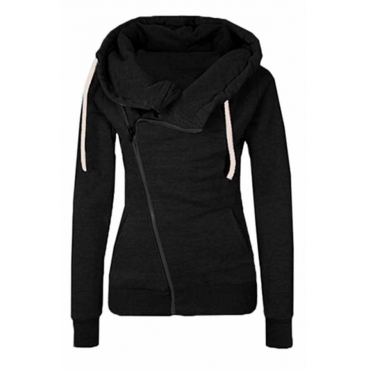 Lovely Casual Hooded Collar Black Cotton Coat