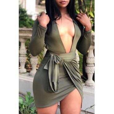 Lovely Casual V Neck Backless Green Mini Dress