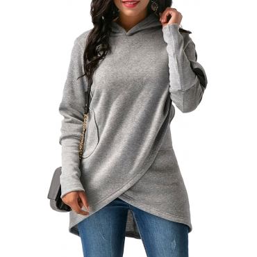 Lovely  Casual Asymmetrical  Grey Long Hoodies