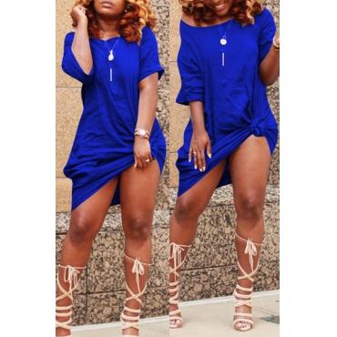 Lovely Casual Knot Design Blue Blending Knee Length Dress
