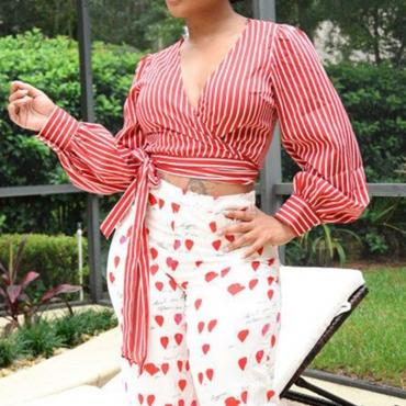 Lovely  Casual Striped Red Blending Blouses