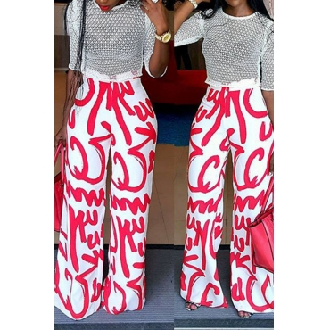 Lovely Euramerican Printed Red Twilled Satin Pants