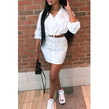 Lovely  Casual Turndown Collar Long Sleeves White Two-piece Skirt Set