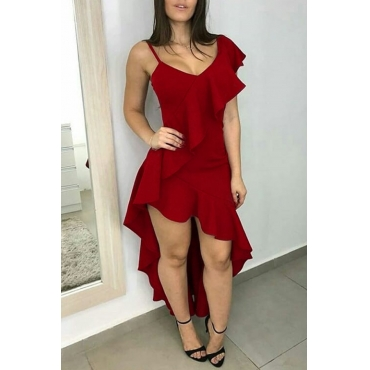 Lovely  Sweet Asymmetrical Flounce Wine Red Twilled Satin Ankle Length Dress