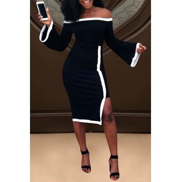 Lovely Elegant Dew Shoulder Flare Sleeves Black Blending Knee Length Dress