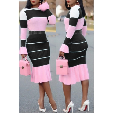Lovely Casual Patchwork Black Blending Two-piece Skirt Set