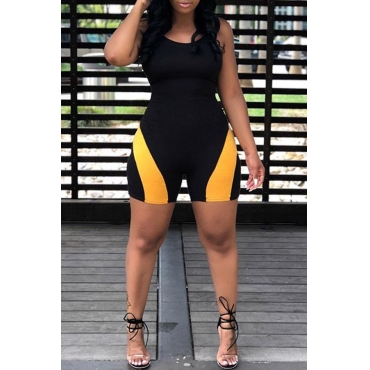 Lovely Sexy Spaghetti Strap Sleeveless Patchwork Black Polyester One-piece Short Jumpsuits