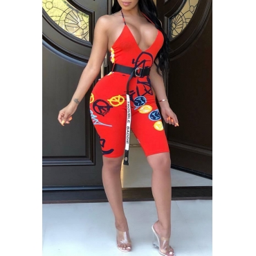 Lovely Euramerican Backless Printed Red One-piece Rompers(Without Belt)