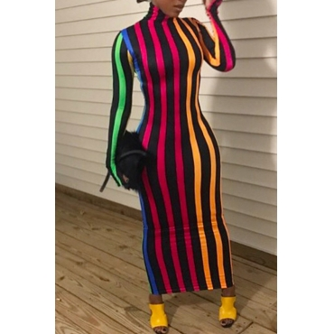Lovely Casual Striped Slim Multicolor Ankle Length Dress