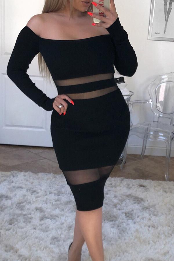 Lovely Sexy Patchwork Slim Black Knee Length Dress