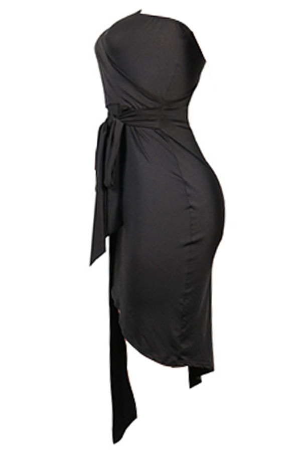 Lovely Vogue Sloping Shoulder Asymmetrical Black Knee Length Dress