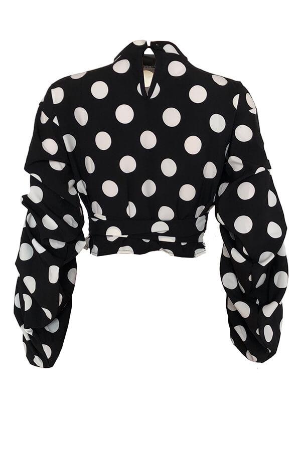 Puntos De Moda Encantadores Impresos Blusas Negras