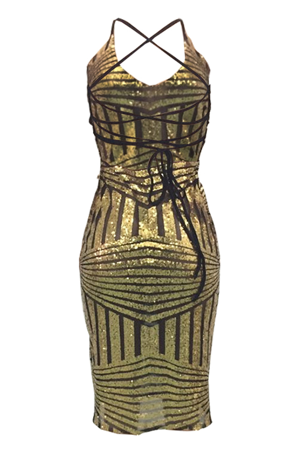 Lovely Sexy Backless Slim Gold Knee Length Dress